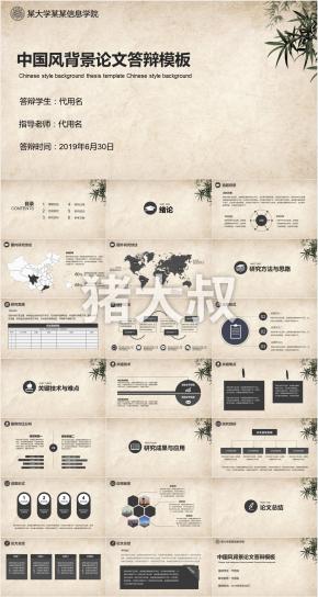 某大学某某信息学院中国风背景论文答辩模板PPT模板